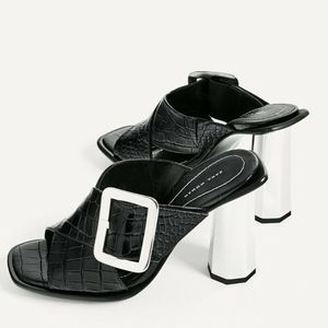 ZARA Leather Black Embossed High Heel Mules Sandal